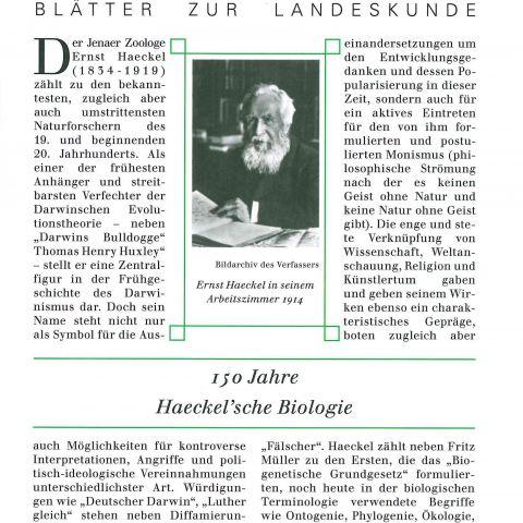 114 - 150 Jahre Haeckel´sche Biologie