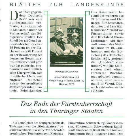 120 - Das Ende der Fürstenherrschaft in den Thüringer Staaten
