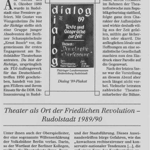130 - Theater als Ort der Friedlichen Revolution - Rudolstadt 1989/90