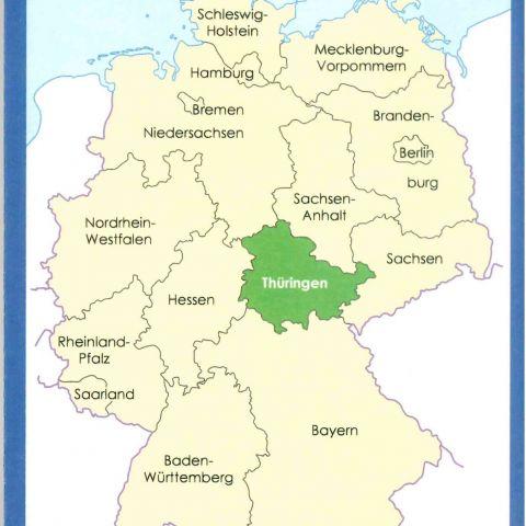 Thüringen 1:250000 Karte geografisch, politisch