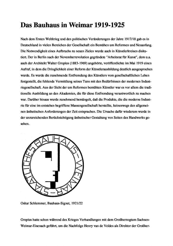 [XX] - Das Bauhaus in Weimar 1919-1925