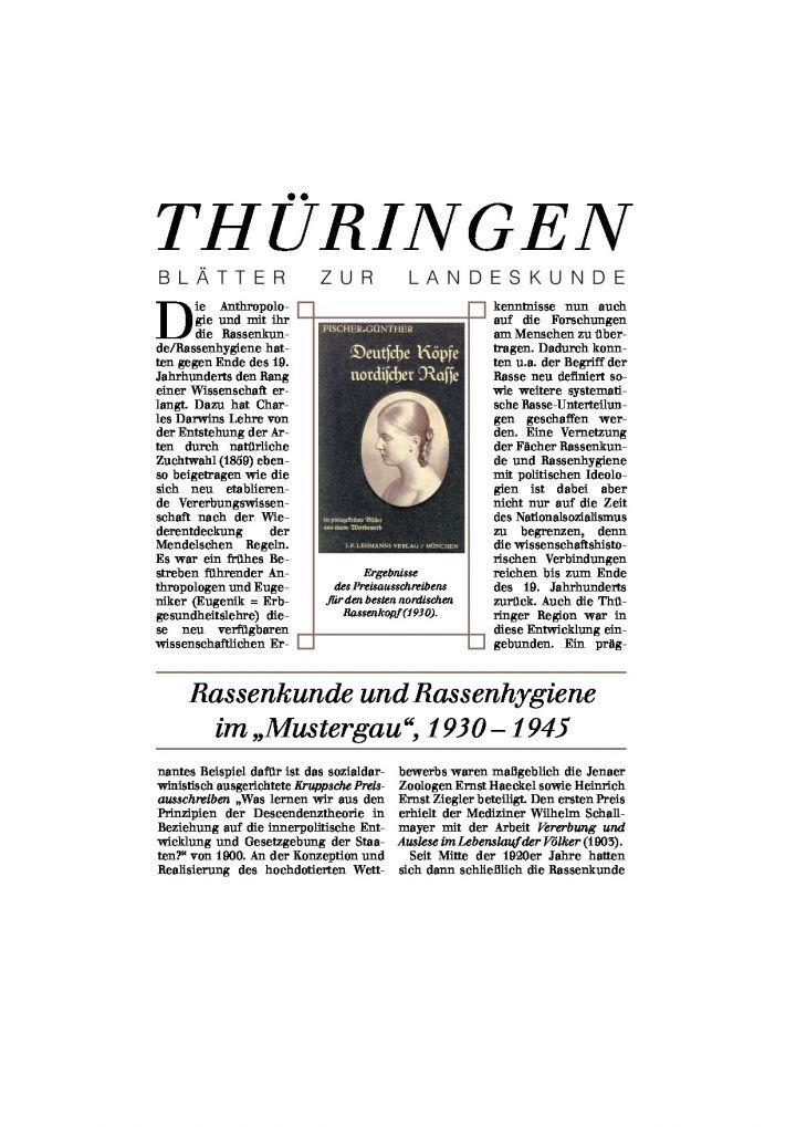 """[41] - Rassenkunde und Rassenhygiene im """"Mustergau"""", 1930 – 1945"""