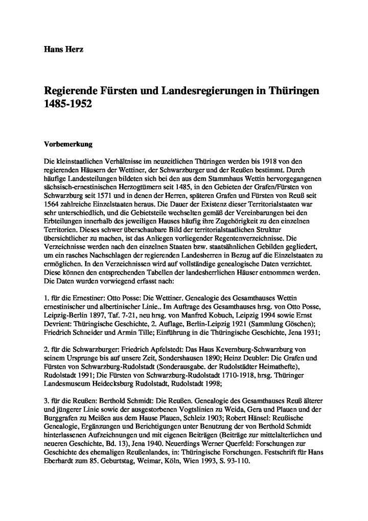 Regierende Fürsten und Landesregierungen in Thüringen