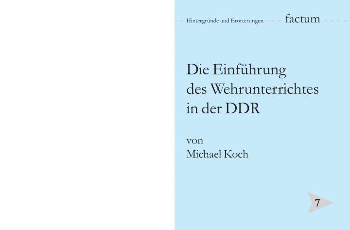 Die Einführung des Wehrunterrichtes in der DDR