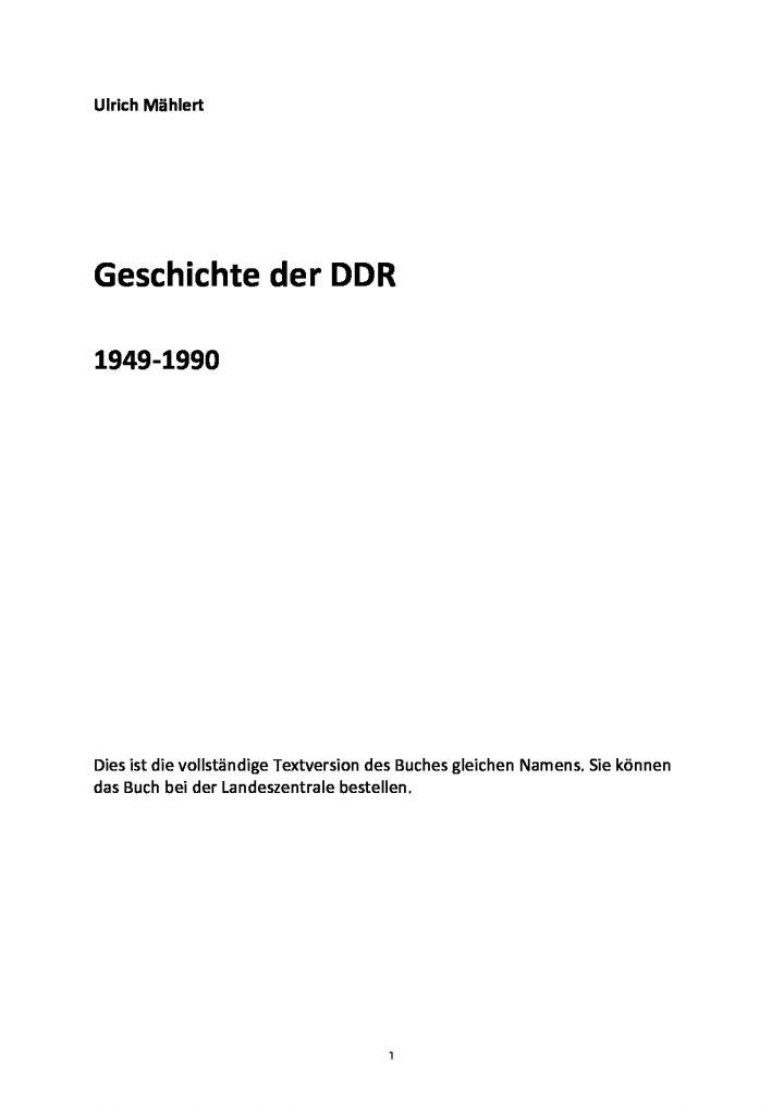 Geschichte der DDR 1949-1990