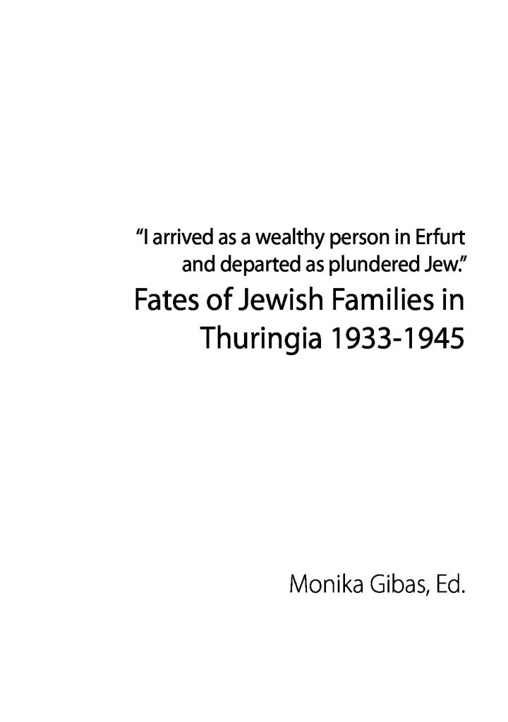 Fates of Jewish Families in Thuringia 1933-1945