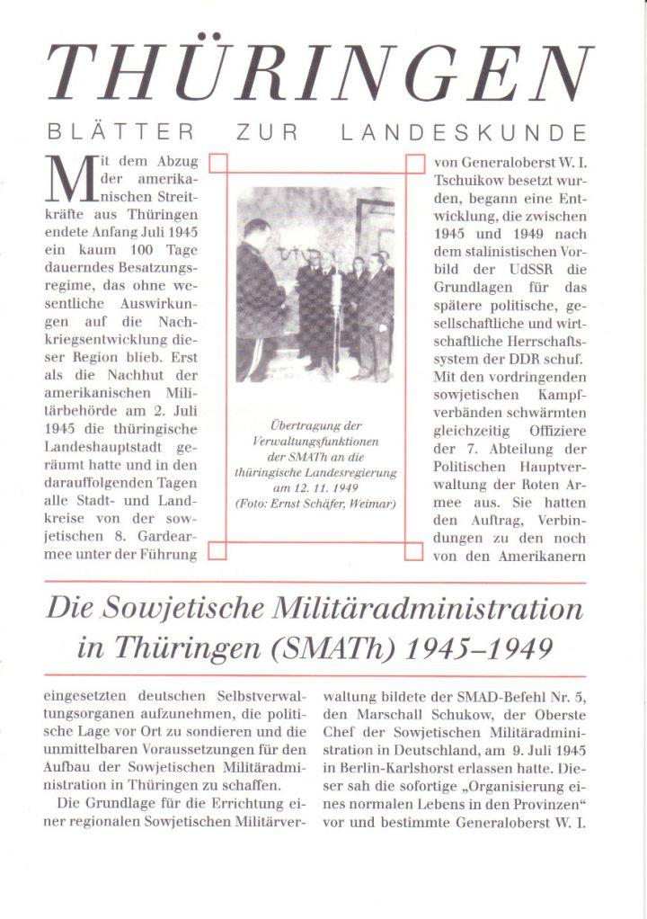 [XX] - Die Sowjetische Militäradministration in Thüringen (SMATh) 1945-1949