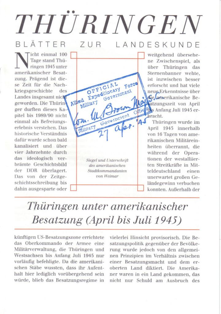[XX] - Thüringen unter amerikanischer Besatzung (April bis Juli 1945)