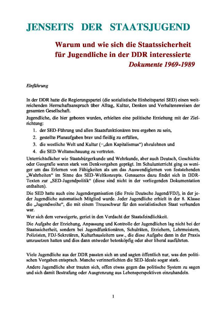 Jenseits der Staatsjugend - Warum und wie sich die Staatssicherheit für Jugendliche in der DDR interessierte. Dokumente 1969-1989